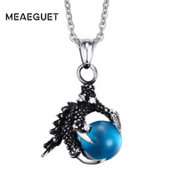Men S Jewelry Vintage Pendant Necklaces Gothic Biker Tribal Stainless Steel Dragon Claw Bead Necklace 50cm