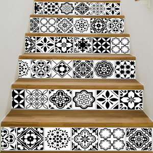 Image 4 - 6PCS White Black Tiles Stairs Stickers Home Decal Staircase Stair Floor Sticker DIY Wall Floor Decal Stair Decal Decoration