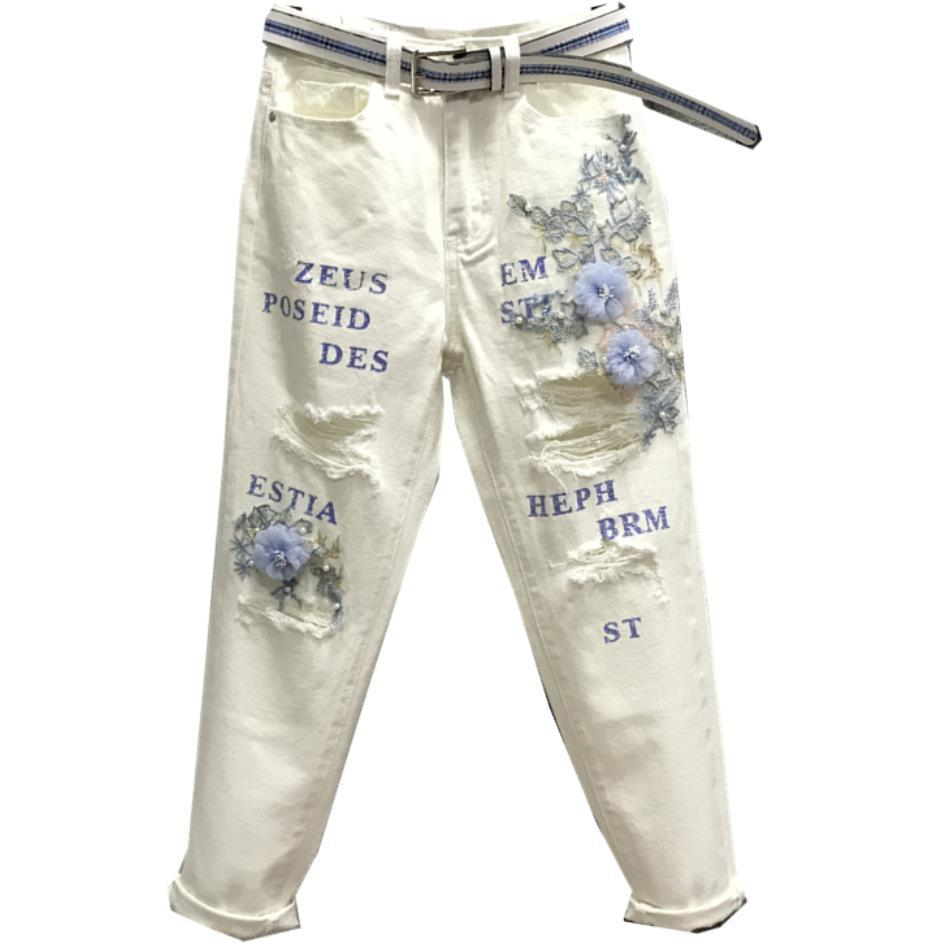 2019 moda kobiety dziura wysokiej talii spodnie harem litery kwiaty frezowanie białe dżinsy