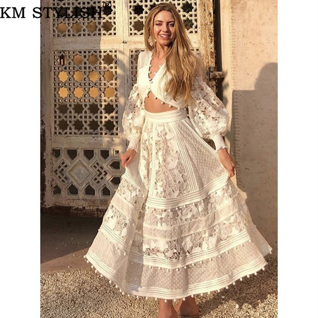 New Women's Set V-neck Cutout Embroidery Fashion Lantern Sleeve Short Top + High Waist Medium Long Skirt Two-Piece Set White