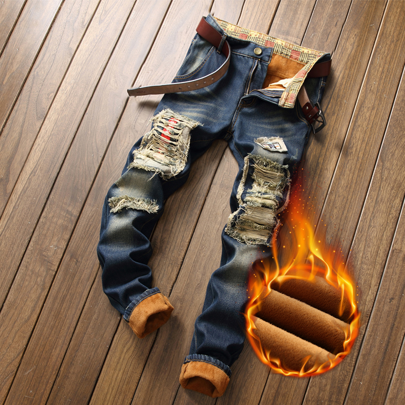 Autumn Winter Man Warm Jeans Slim Ripped Fleece Patchwork Punk Denim Pants Man Casual Personal Quality Hip Hop Jean
