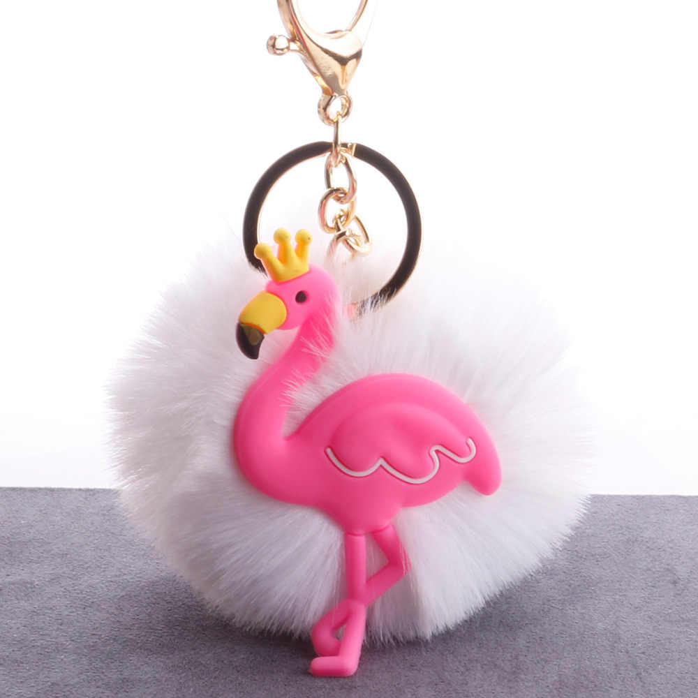Flamingo chaveiro bola de cabelo meninas Novas Europeus e Americanos saco da forma pingentes de pelúcia coroa Silicone enfeites de aves