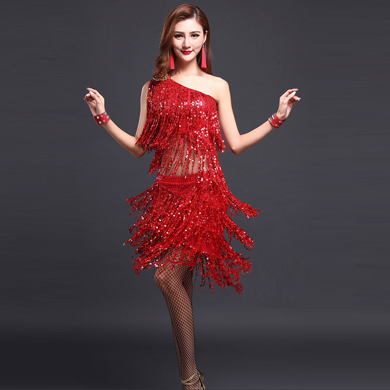 Latin Dance Dresses Cha Cha//Rumba//Samba//Ballroom//Tango Dance Clothing Red Fringe
