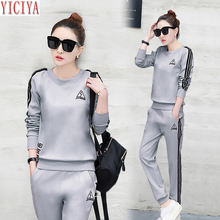YICIYA womens tracksuits two piece sets casual outfits co-ord set plus size large winter autumn pants suits and top gray clothes