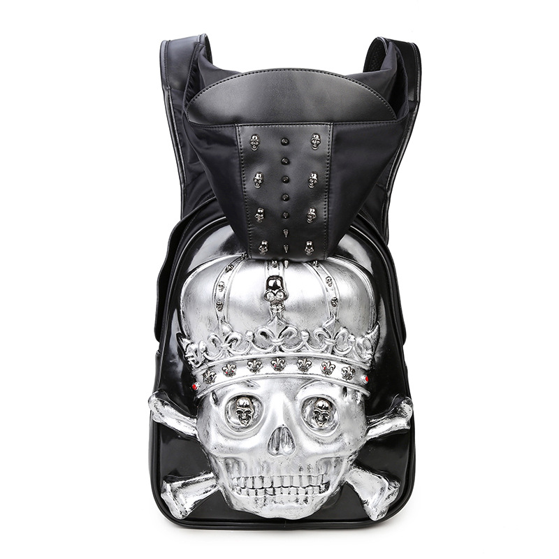 Rock New Fashion Personality 3D skull PU Punk leather backpack rivets backpack with Hood cap apparel bag crossbags hip hop man fashion summer pink white women baseball cap with letter hat cap snapback sport female peaked cap hip hop