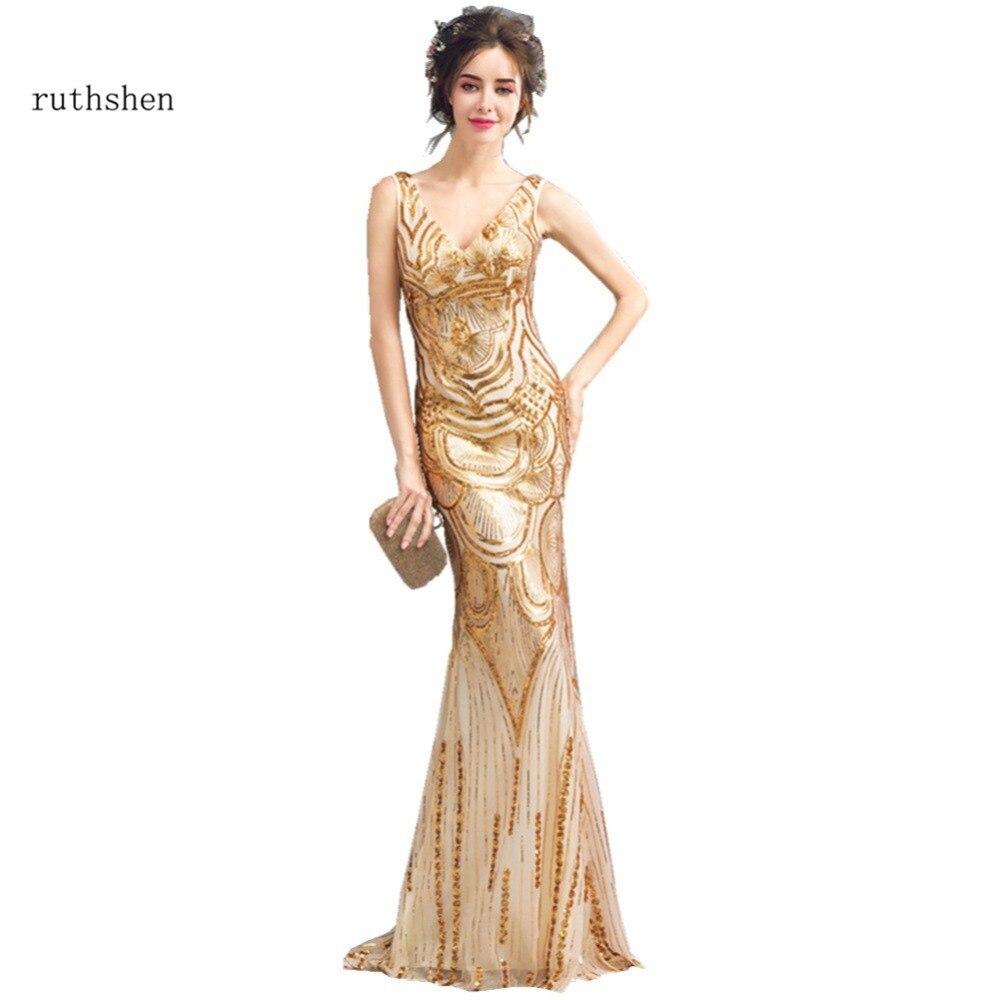 buy popular ba3fe 9b678 US $64.99 25% di SCONTO|Ruthshen Riflettente Vestito Oro Abiti Da Sera  Lungo 2018 Nuovo Su Misura Sequined da Promenade Della Sirena Abiti Da ...