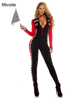 TITIVATE Sexy Women Model Jumpsuit Long Sleeves Race Car Driver DJ Costume With Fashion Uniform Halloween Adult Night Party Wear