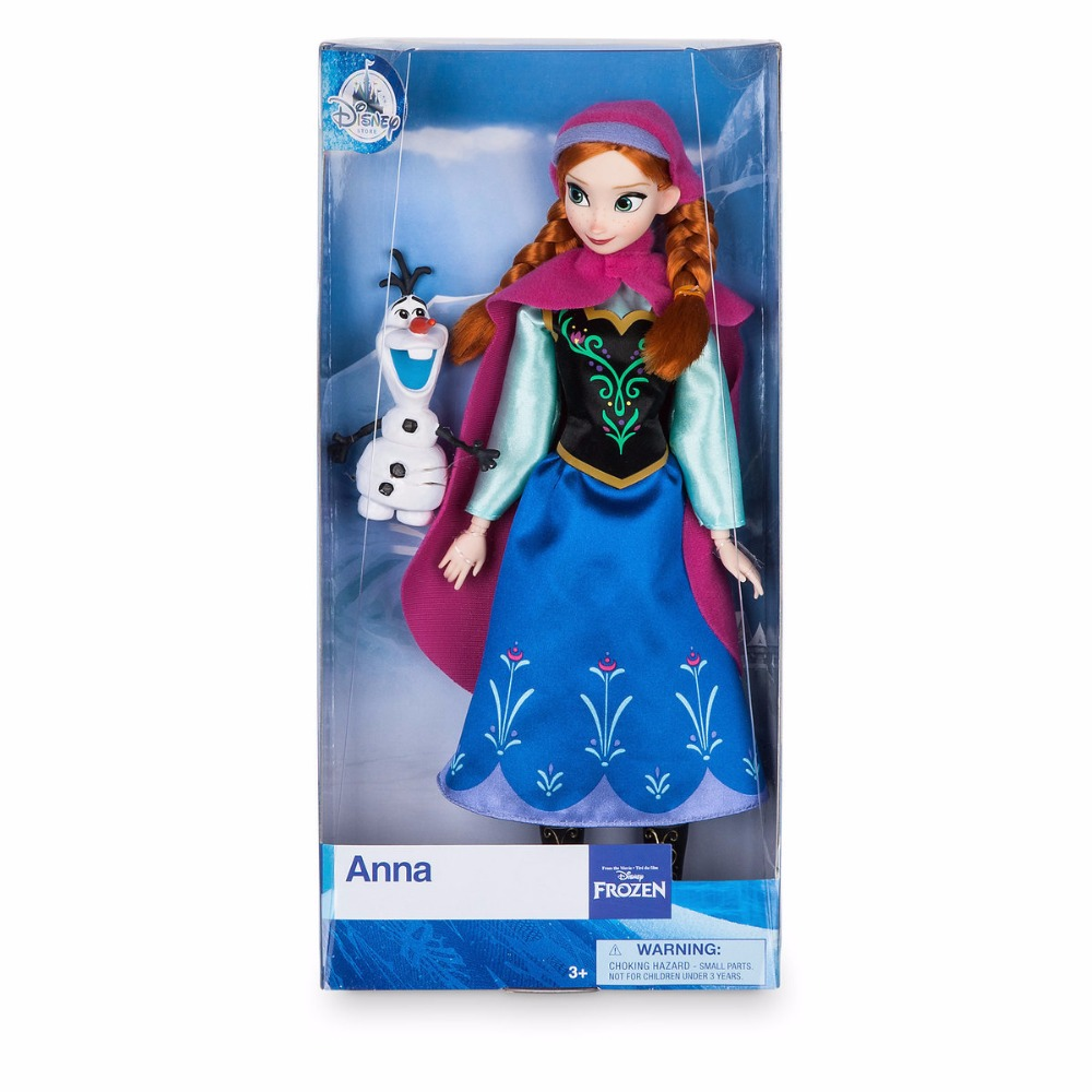 Original DISNEY Store Frozen princess Anna Classic princess Doll with Olaf Figure toys For children gift