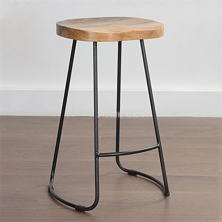 European Style Modern Wood S Shape Surface Bar Stool Fashion Cafe Bar Stool Iron Solid Wood High Barstool Home Footstool 4 Size