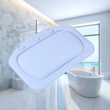 Bathtub Waterproof Spa Soft Bath Pillow Headrest With Suction Cup Tub Pillow Bathroom Products 4 Colors 21x31cm(China)