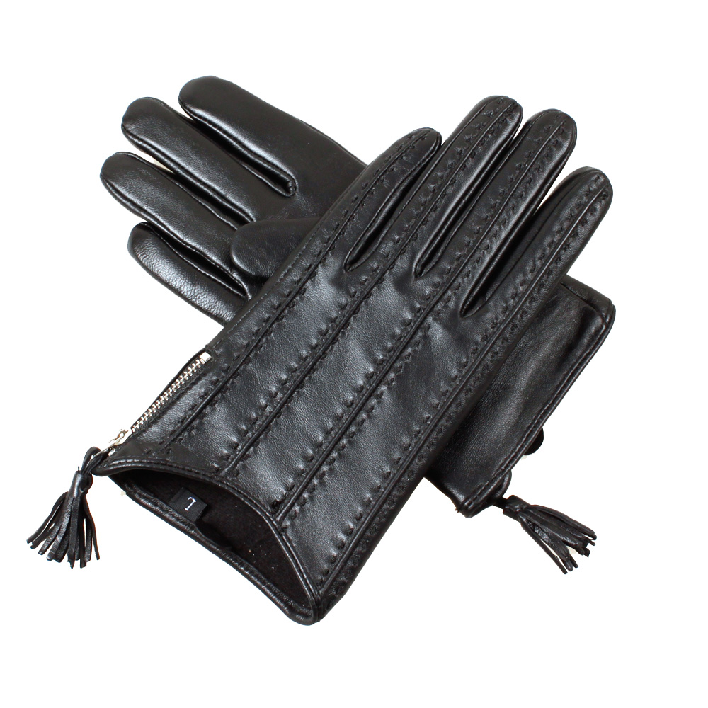 Leather driving gloves with zipper -