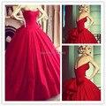 Великолепная Бальные Платья Красный Свадебные Платья Лиф Милая Длина Пола Большой Лук Спинки Старинные Принцесса Свадебное Платье Невесты