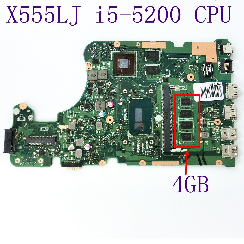 X555LJ i5-5200 CPU GT920M N16V-GM-B1 DDR3 4GB Memory Slots Mainboard For ASUS X555LD Laptop Motherboard REV 3.6 100% Tested цена и фото