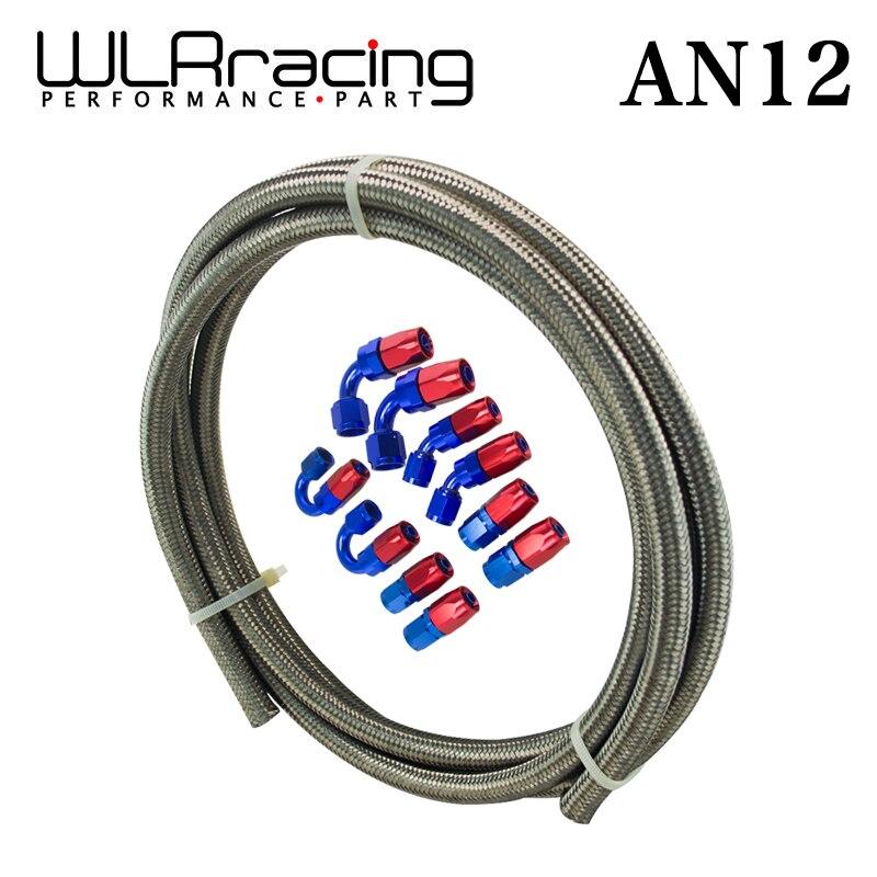 WLRING - Ан-12 датчик/стальной оплетке 5м Ан-12 из нержавеющей нефть/мазут LINEline + 12AN Сторона 12-шланг конец адаптер комплект WLR7115+