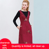 ONLY PLUS High Quality Flannel Dress Embroidered Wine Red Sleeveless V Neck Women Dress Sweet Casual Winter Out wear