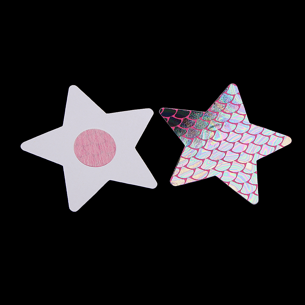4 Pairs Holographic Nipple Covers Self Adhesive Disposable Star Pasties Petals Rave Festival