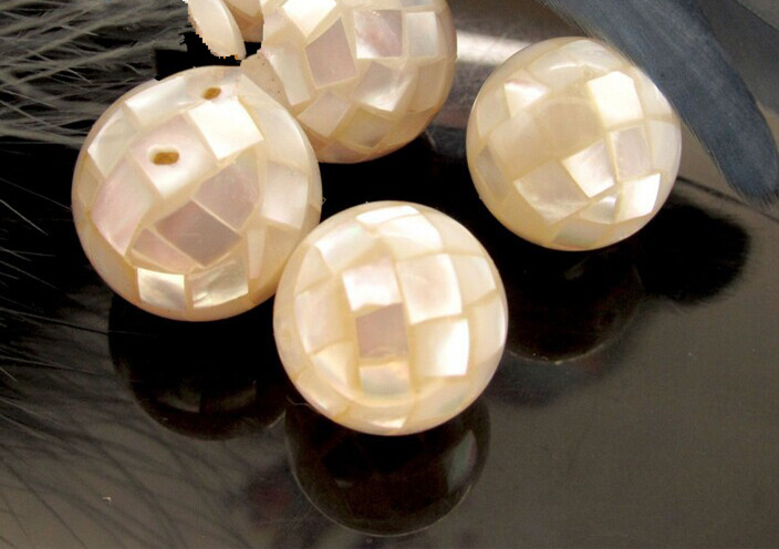 5pcs abalone shell WHITE round 10-16mm nature beads for making jewelry necklace FPPJ wholesale