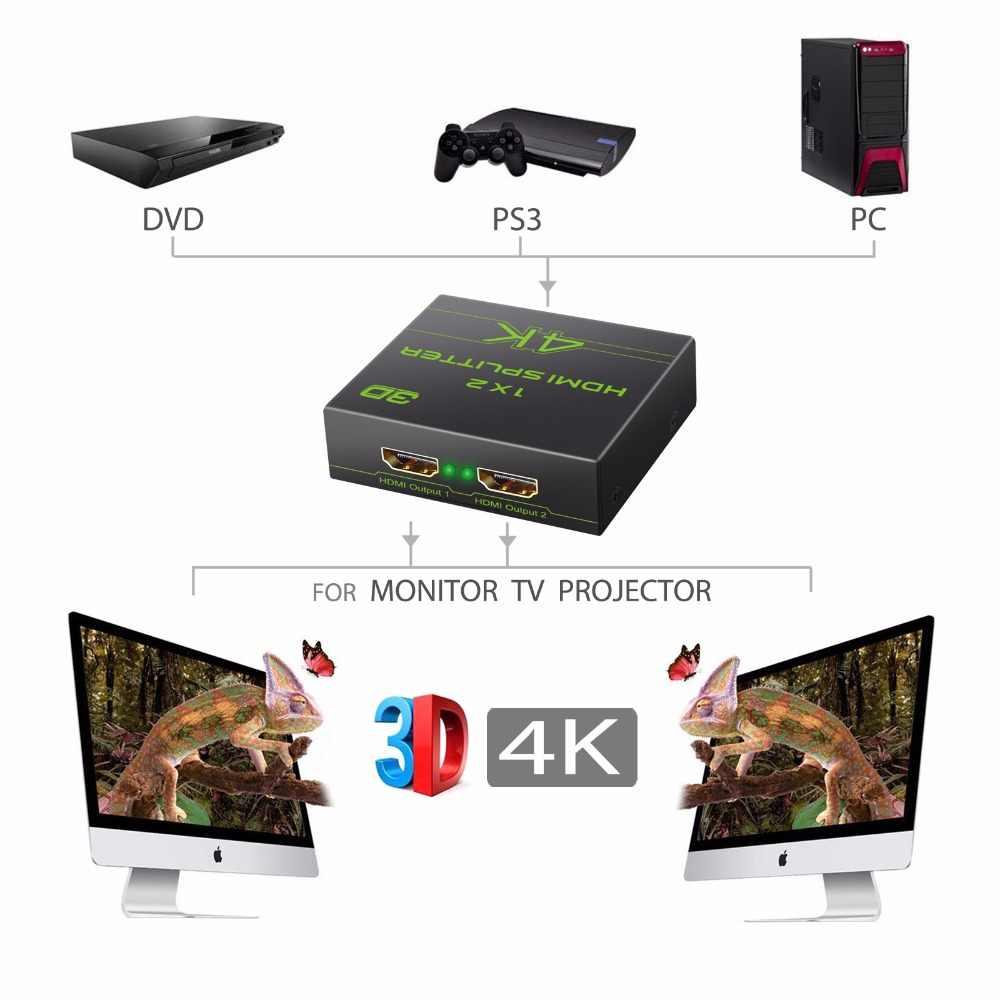 Neoteck الترا HD 4 K x 2 K مقسم الوصلات البينية متعددة الوسائط وعالية الوضوح (HDMI) مكبر للصوت 1x2 1 في 2 خارج 1080 P 3D HDCP 1.4 4 K مقسم الوصلات البينية متعددة الوسائط وعالية الوضوح (HDMI) 1X2 توزع مع الطاقة