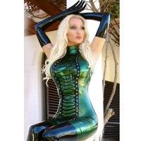 Новое поступление с мокрым эффектом латекса Необычные платья латекс Catwomen юбки с длинными перчатками и плотные чулки
