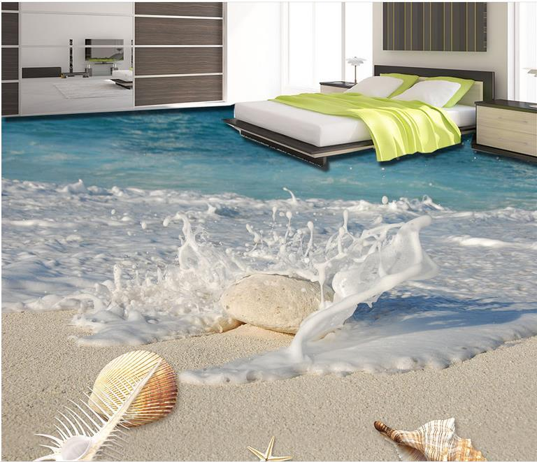 3d floor spray shell mural wallpaper floor stickers for 3d self adhesive wallpaper