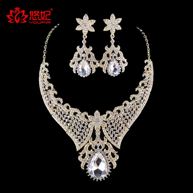 Bridal Flower Jewelry Sets India Style Necklace Earrings For Bride Bridesmaid Party Wedding Dress