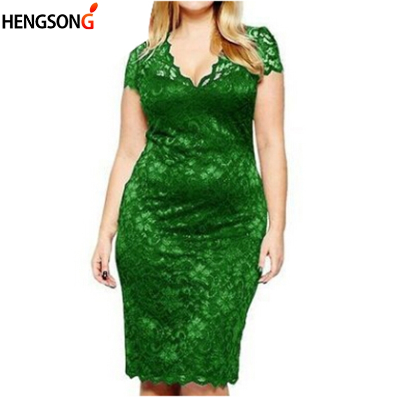 Plus Size 4XL Women Dress V-neck Short Sleeve Floral Sexy Lace Dress Fashion Bodycon Dresses Women Party Dress Ladies Vestidos