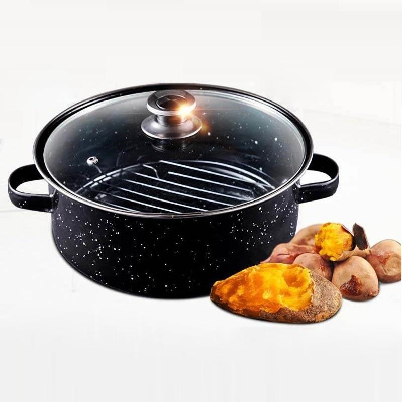 24m Enamel Roasting Pan For Corn Sweet Potato Chestnut Baking Pot BBQ Meat Steak Grill Barbecue Roaster Smokeless For Gas Stove