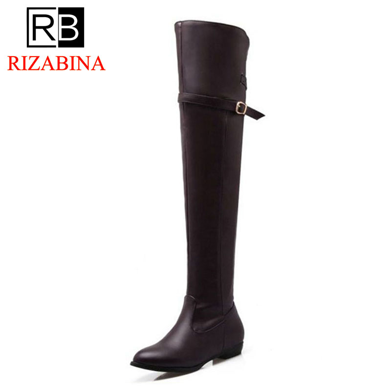 RIZABINA Plus Size 34 48 Women Flats Boots Keep Warm Fur Zipper Round Toe Women Over