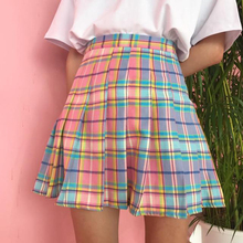 Rainbow Checkered Korean College Skirt