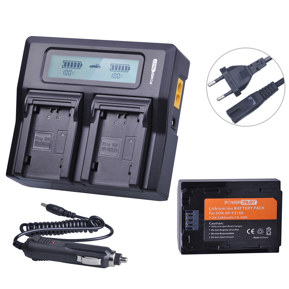 1x 2280mAh NP-FZ100 NPFZ100 NP FZ100 Battery+LCD Rapid Dual Charger for Sony BC-QZ1 Alpha 9 9R A9R 9S ILCE-9 A7R A7 III ILCE-7M3 3x 2280mah np fz100 npfz100 np fz100 battery for sony a9 a9r 9s bc qz1 alpha 9 ilce 9 a7r ilce 7rm3 a7 iii ilce 7m3 ilce 7m3k