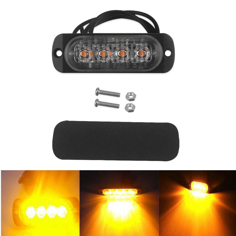 4pcs 4LED Car Truck Emergency Warning Light 12W Dual Color Flash Strobe Lamp NEW