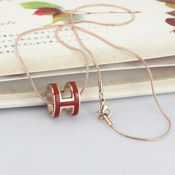 high quality 316 stainless steel h letter pendant necklace for women (4)