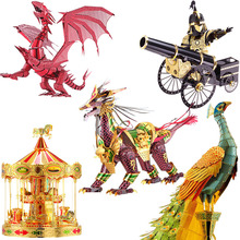 Piececool 3D Metal Puzzle Toy DIY Dinosaur Dragon Peacock Furniture Soldier Robot Crane Flower Model Building Kits Kids Toys