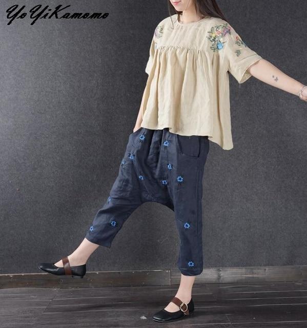 YoYiKamomo 2017 mujeres pantalones de lino grande original vestido de  algodón y lino bordado loose women 6a3ba7d38c10