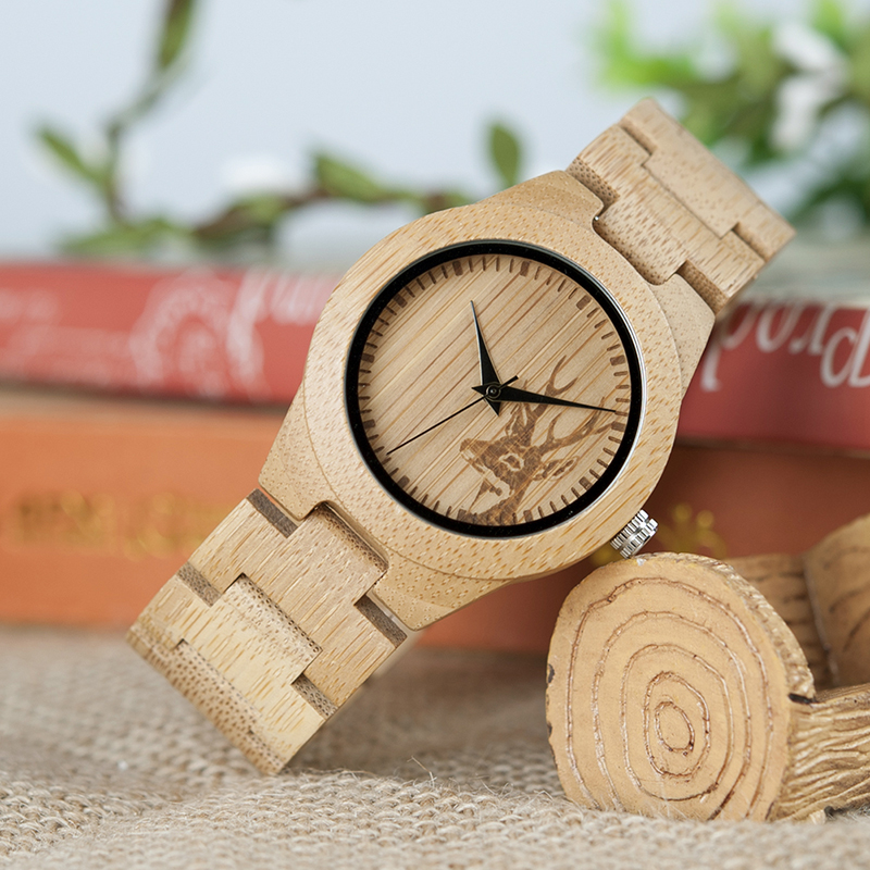 BOBO BIRD Women Watches Relogio Feminino Elk Engraved Face Bamboo Wooden Wristwatches Luxury Brand Handmade Wood Strap C-dE04
