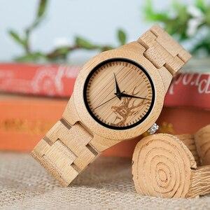 Image 1 - BOBO ptak kobiety zegarki Relogio Feminino ełk grawerowane twarzy bambusa drewniane zegarki luksusowe marki ręcznie drewna pasek C dE04
