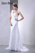 Actual Images One-Shoulder Lace Sheath Wedding Dresses Pleats Floor-Length Sweep Train Long Bridal Gowns