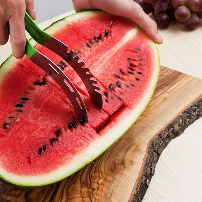 Eworld-2PCS-Party-Supply-Stainless-Steel-Cut-Fruit-Watermelon-Slicer-Cutter-Corer-Scoop-Fast-Slicer-Smart