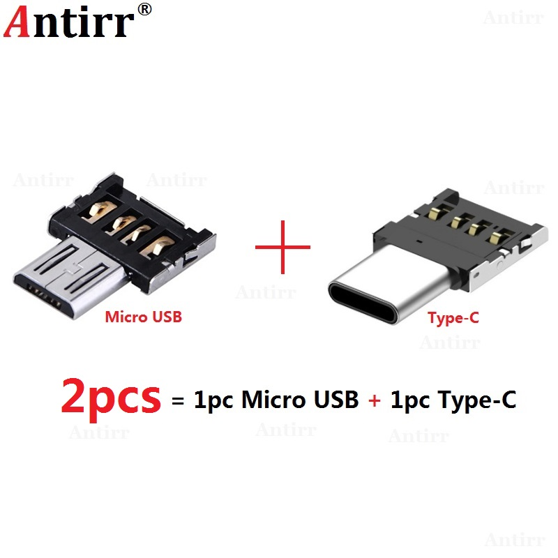 2pcs Type-C Connector Type C Micro USB 2.0 Male To Female OTG Adapter Converter For Android Tablet Phone Flash Drive U Disk