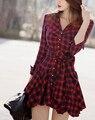 Новые Поступления Женщины Одеваются Красный Плед Отпечатано Блузка Платья Мода Нерегулярные Длинным Рукавом Мини Платья С Поясом L8146