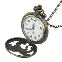 Roman digital quartz necklace pocket watch retro bronze steampunk pocket watch chain animal shaped clock for men and women недорого
