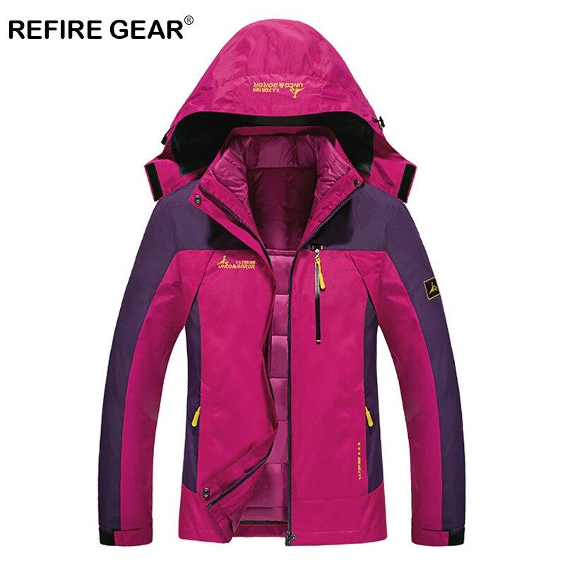ReFire Gear imperméable à l'eau Winbreaker chaud randonnée vestes femmes à capuche coton rembourré grande taille veste extérieure épais Camping vêtements