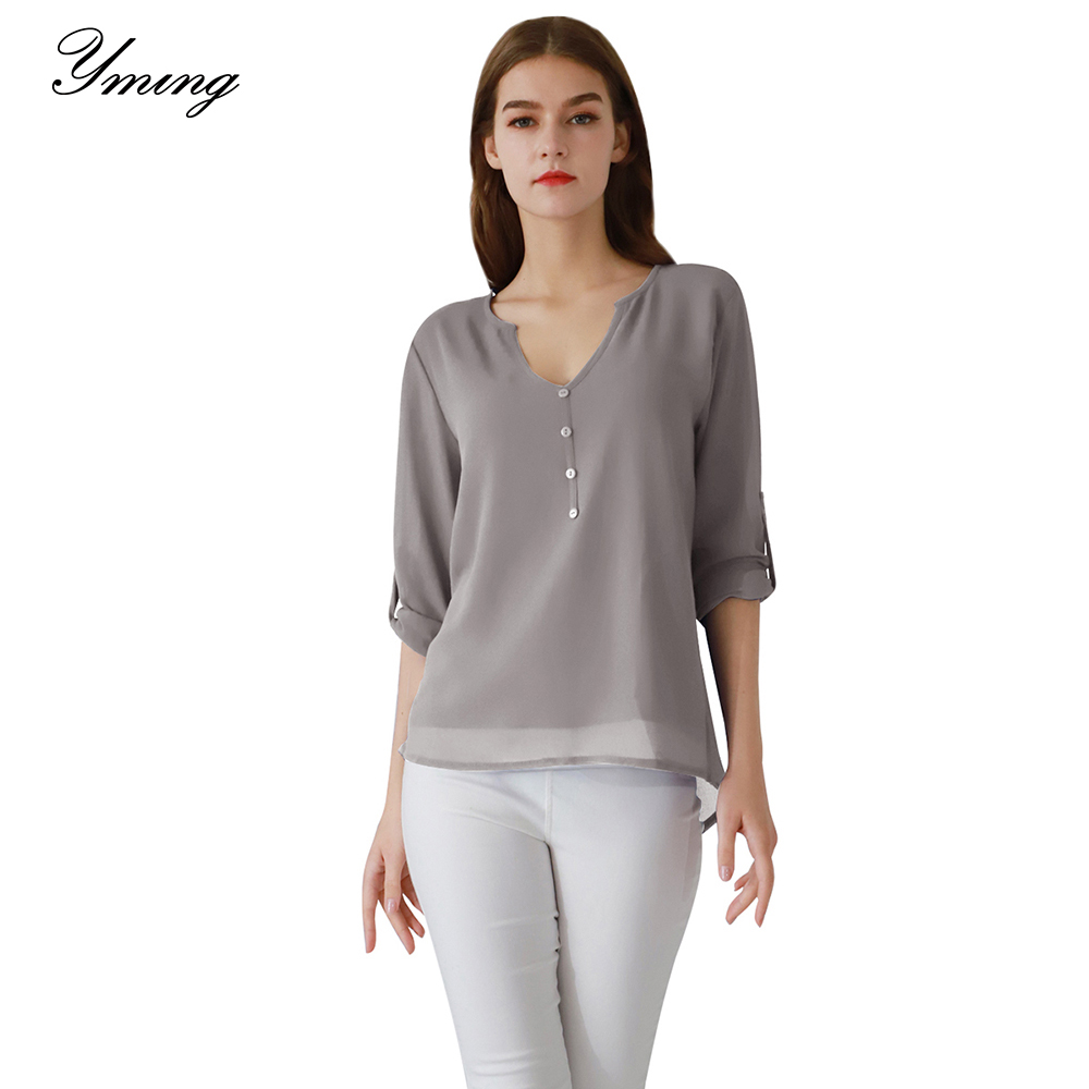 Yming Chiffon Blouse Women Button Fashion Shirt Solid Casual Ladies Tops Female Shirts Office Tunic Long Sleeve Blouses Blusas