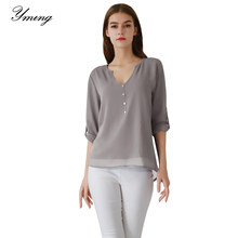 Yming Chiffon Blouse Women Button Fashion Shirt Solid Casual Ladies Tops Female Shirts Office Tunic Long Sleeve Blouses Blusas(China)