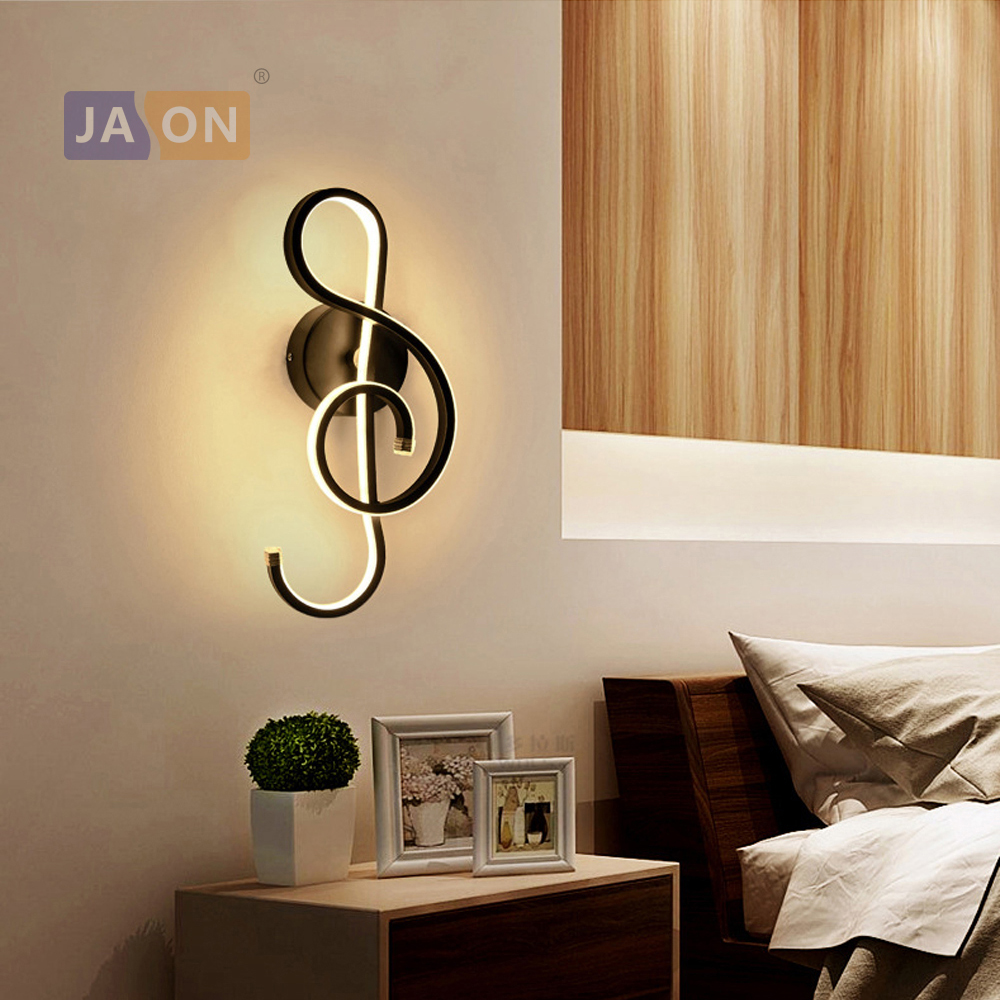 цена на LED Nordic Iron Aluminum Acryl Black White Music Note LED Lamp LED Light Wall lamp Wall Light Wall Sconce For Bedroom Corridor