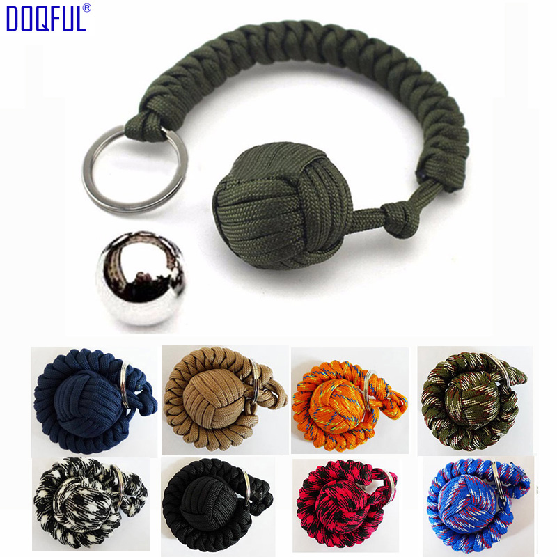 100pcs/lot Tactical EDC Steel Ball Umbrella Rope Keychains Self Defense Handmade Paracord Emergency Survival Parachute Cord Ring
