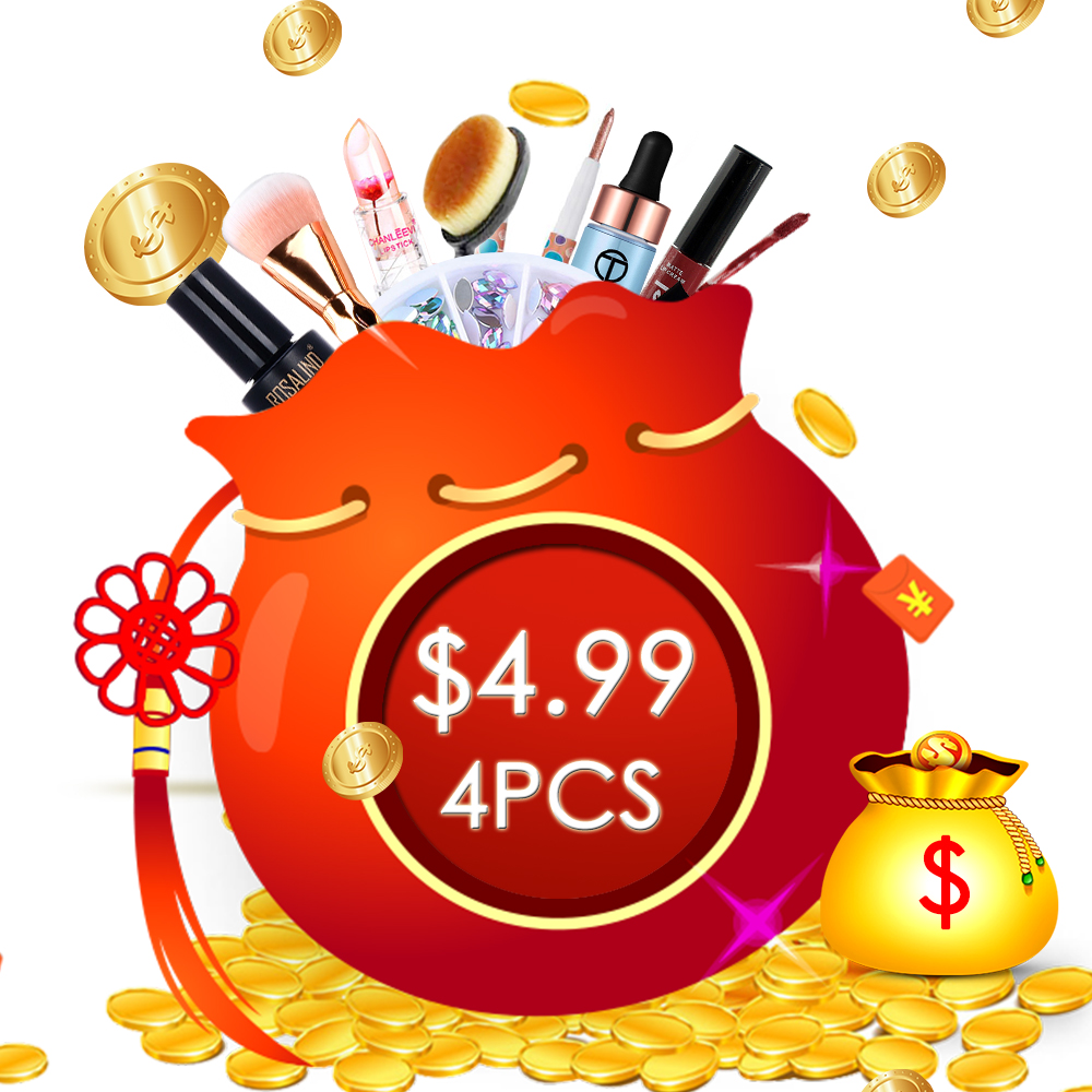 Makeup Set Random Style 4PCS Makeup Tools Sell As Lucky Bag With High Quality Products Eyeshadow Lips Face Cosmetic Nails Gifts