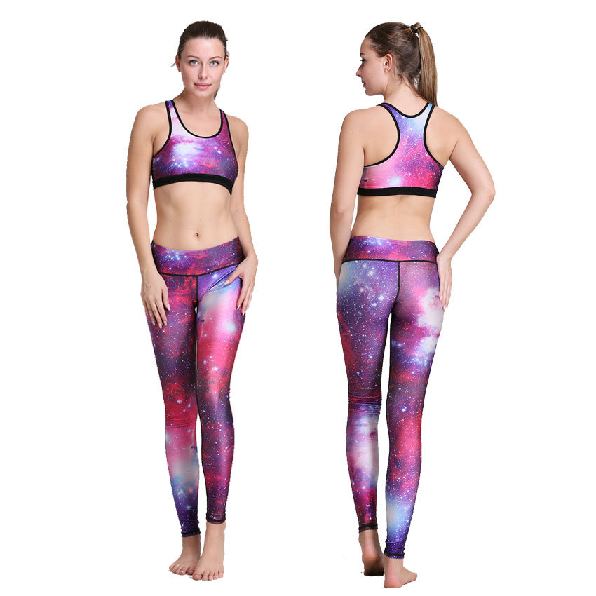 2017 2017 New Purple Galaxy Printed Yoga Pant Sets Training Bodybuilding Plus  Size High Waisted Stretchy Top Sports Bra Outfit 29937aec7ffb