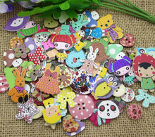 50Pcs Mixed Printing Wood Sewing Buttons For Kids Clothes Scrapbooking Decorative Needlework Botones Handicraft DIY Accessories(China)
