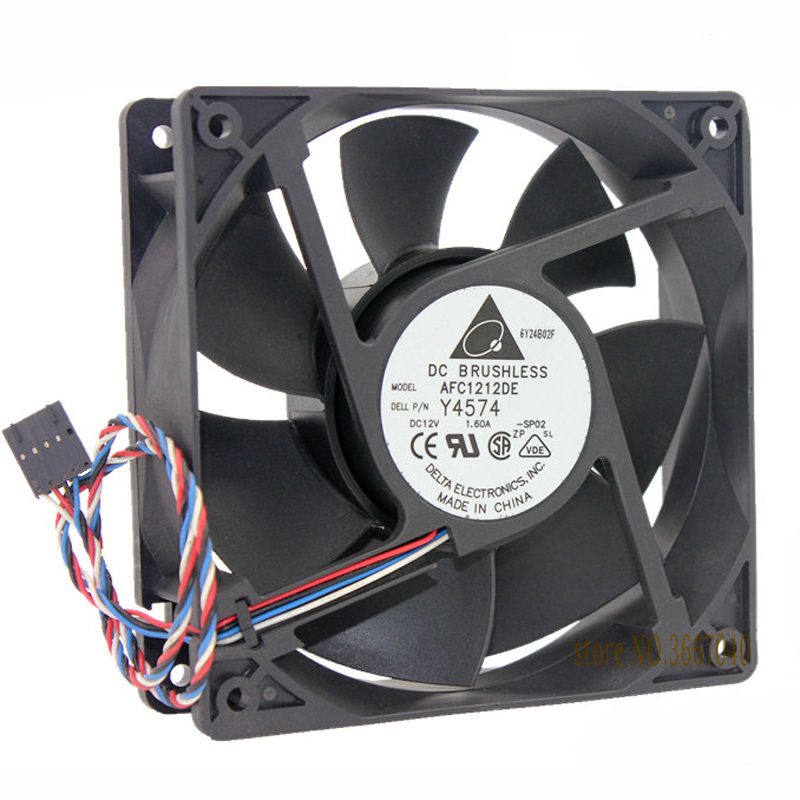 Delta AFC1212DE 120*120*38mm 12cm DC 12V 1.6A PWM 4-line Control Air Fan new afb1212she 12038 12cm 1 6a 12v 4wire pwm 40cm long line of fan for delta 120 120 38mm